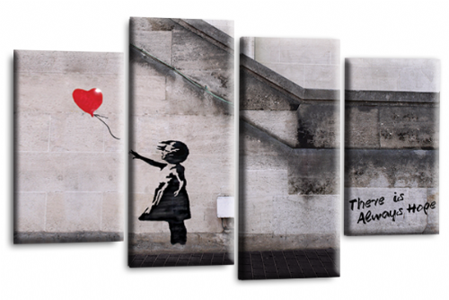 Banksy Canvas Wall Art Picture Print Red Balloon Girl Hope